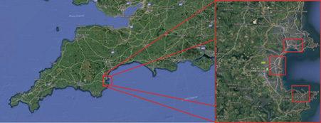 Location of the Torbay case study (left) in the South West of England; Torquay, Paignton and Brixham (right)